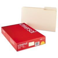 Universal File Folders, 1/3 Cut Assorted, One-Ply Top Tab, Legal, Manila, 100/Box UNV15113