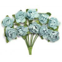 """Mini Paper Blooms .5"""" Flowers W/Wire Stems 10/Pkg NOTM272303"""