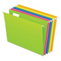 Pendaflex Glow Hanging File Folders, 1/5 Tab, Letter, Glow Assorted, 25/Box PFX81672