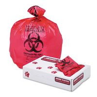 "Jaguar Plastics Health Care ""Biohazard"" Printed Liners, 1.3mil, 24 x 32, Red, 250/Carton JAGIW2432R"