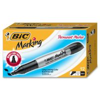 BIC Marking Chisel Tip Permanent Marker, Tuxedo Black, Dozen BICGPMM11BK