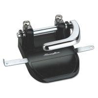"""Swingline 40-Sheet Heavy-Duty Steel Two-Hole Punch, 1/4"""" Holes, Steel, Black/Chrome SWI74060"""