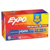 EXPO Ink Indicator Dry Erase Marker, Chisel Tip, Blue, Dozen SAN1946762