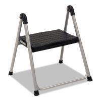 "Cosco Folding Step Stool, 1-Step, 200lb, 9 9/10"" Working Height, Platinum/Black CSC11014PBL1E"
