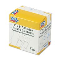 "First Aid Only Plastic Adhesive Bandages, 1"" x 3"", 100/Box FAOG106"