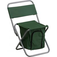 Flash Furniture Folding Camping Chair with Insulated Storage in Green FHFTY1262GNGG