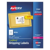 Avery Shipping Labels with TrueBlock Technology, Laser, 3 1/3 x 4, White, 600/Box AVE5164