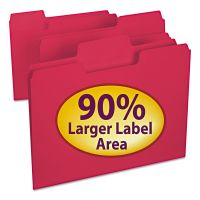 Smead SuperTab Colored File Folders, 1/3 Cut, Letter, Red, 100/Box SMD11983
