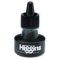Higgins Waterproof Pigmented Drawing Ink, Black, 1oz Bottle HIG44201