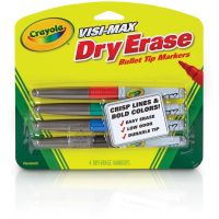 Crayola Dry Erase Marker, Bullet Tip, Fine, Assorted Colors, 4/Set CYO988901