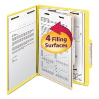 Smead Top Tab Classification Folder, One Divider, Four-Section, Letter, Yellow, 10/Box SMD13704