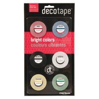 "Chartpak Deco Bright Decorative Tape, 1/8"" x 324"", Red/Black/Blue/Green/Yellow, 6/Pack CHADEC001"