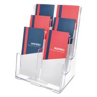 deflecto 6-Compartment DocuHolder, Leaflet Size, 9 x 7 1/2 x 13 3/4, Clear DEF77401