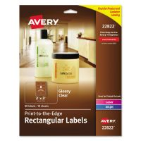 Avery Rectangle Print-to-the-Edge Labels, 2 x 3, Glossy Clear, 80/Pack AVE22822