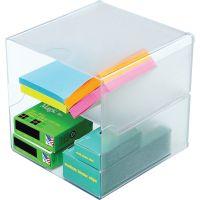 deflecto Desk Cube, Divided, Clear, 6 x 6 x 6 DEF350701