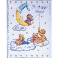 Bears In Clouds Birth Record Counted Cross Stitch Kit NOTM471362
