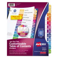 Avery Ready Index Customizable Table of Contents Multicolor Dividers, 12-Tab, Letter AVE11127
