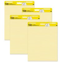Post-it Easel Pads Self Stick Easel Pads, Ruled, 25 x 30, Yellow, 4 30 Sheet Pads/Carton MMM561VAD4PK