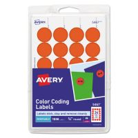 "Avery Printable Removable Color-Coding Labels, 3/4"" dia, Neon Red, 1008/Pack AVE05467"