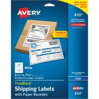 Avery Shipping Labels With Paper Receipts AVE8127