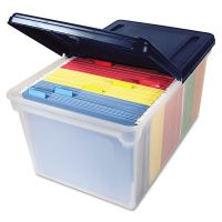 Innovative Storage Designs File Tote with Hinged Lid, Letter, Plastic, Clear/Navy AVT55797