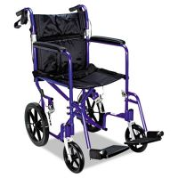 Medline Excel Deluxe Aluminum Transport Wheelchair, 19w x 16d, 300lb Cap MIIMDS808210ABE