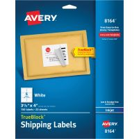 Avery Shipping Labels with TrueBlock Technology, Inkjet, 3 1/3 x 4, White, 150/Pack AVE8164