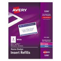 Avery Additional White Laser/Inkjet Insert for Badge Holder,2 1/4 x 3 1/2,White,400/BX AVE5390