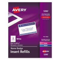 Avery Name Badge Insert Refills, Horizontal, 2 1/4 x 3 1/2, White, 400/Box AVE5390