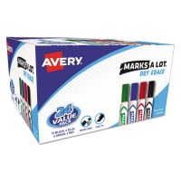 Avery MARK A LOT Desk-Style Dry Erase Marker, Chisel Tip, Assorted, 24/Pack AVE98188
