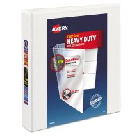 "Avery Heavy-Duty 3-Ring View Binder w/Locking 1-Touch EZD Rings, 1 1/2"" Capacity, White AVE79195"