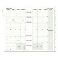 Day-Timer Monthly Classic Refill, 3 3/4 x 6 3/4, White/Green, 2019 DTM87129