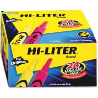 Avery HI-LITER Desk-Style Highlighter, Chisel Tip, Assorted Colors, 24/Pack AVE98189