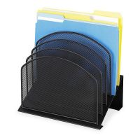 Safco Mayline Mesh Desk Organizer, Five-Tiered Sections, Steel, 11 1/4 x 7 1/8 x 11 5/8, Black SAF3257BL