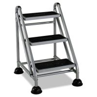 Cosco Rolling Commercial Step Stool, 3-Step, 26 3/5 Spread, Platinum/Black CSC11834GGB1