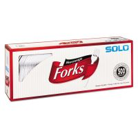 SOLO Cup Company Heavyweight Plastic Cutlery, Forks, White, 6.41 in, 500/Carton SCC827263