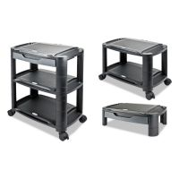 "Alera 3-in-1 Storage Cart and Stand, 21 5/8""w x 13 3/4""d x 24 3/4""h,Black/Gray ALEU3N1BL"