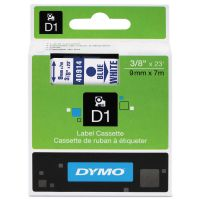 "DYMO D1 High-Performance Polyester Removable Label Tape, 3/8"" x 23 ft, Blue on White DYM40914"