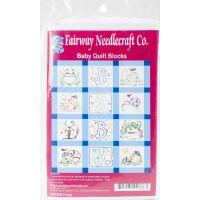 """Stamped Baby Quilt Blocks 9""""X9"""" 12/Pkg NOTM052730"""