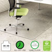 deflecto EnvironMat Recycled Anytime Use Chair Mat for Hard Floor, 36 x 48 w/Lip, Clear DEFCM2G112PET