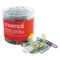 Universal Plastic-Coated Wire Paper Clips, Jumbo, Assorted Colors, 250/Pack UNV95000