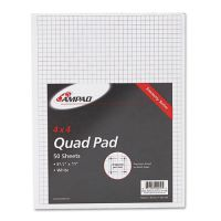 Ampad Quadrille Pads, 4 Squares/Inch, 8 1/2 x 11, White, 50 Sheets TOP22030C