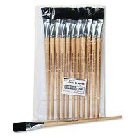 Charles Leonard Long Handle Easel Brush, Size 22, Natural Bristle, Flat, 12/Pack LEO73599