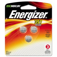 Energizer Watch/Electronic Battery, SilvOx, 357, 1.5V, MercFree, 3/Pk EVE357BPZ3