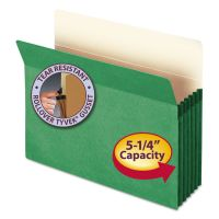 """Smead 5 1/4"""" Exp Colored File Pocket, Straight Tab, Letter, Green SMD73236"""
