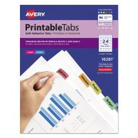 Avery Printable Plastic Tabs with Repositionable Adhesive, 1 1/4, Assorted, 96/Pack AVE16281