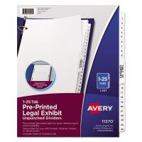 Avery Avery-Style Legal Exhibit Side Tab Divider, Title: 1-25, Letter, White AVE11370