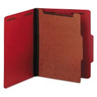 Universal Pressboard Classification Folders, Letter, Four-Section, Ruby Red, 10/Box UNV10203