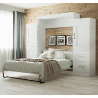 """Bestar Edge by Bestar Queen Wall Bed with two 25"""" Storage Units in White BESBES7088217"""