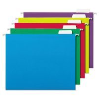 Universal Hanging File Folders, 1/5 Tab, 11 Point, Letter, Assorted Colors, 25/Box UNV14121